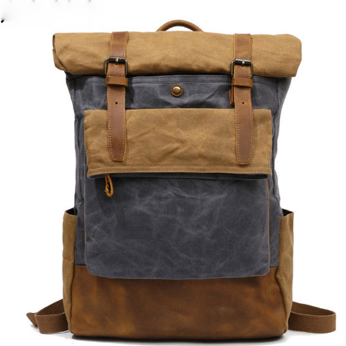 Men Backpack Canvas Large Backpack Travel Bags For Men/Women Vintage Military Style Backpacks Casual School Bag grey/blue/black