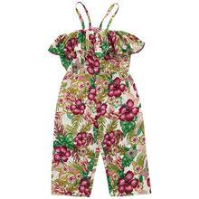 Girls print flower sling jumpsuit trousers girls wear a word shoulder print girls suspenders girls flower print hoodie