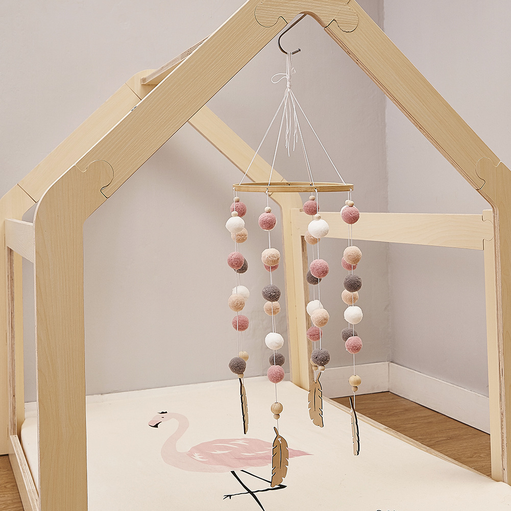 Moonvvin Baby Rattles Mobile Pompom Wind Chimes Bell Toys For Kids Room Bed Hanging Decor Tent Decor Photography Props Gifts