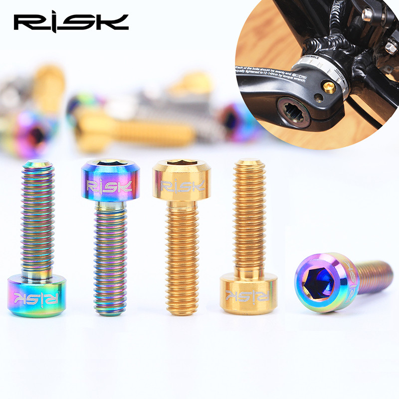 RISK 4pcs M6x18mm <font><b>M6x20mm</b></font> <font><b>Titanium</b></font> Ti Crank locking screw Bolts for bicycle Disc Brake Caliper Adapter Mount bicycle parts Gift image