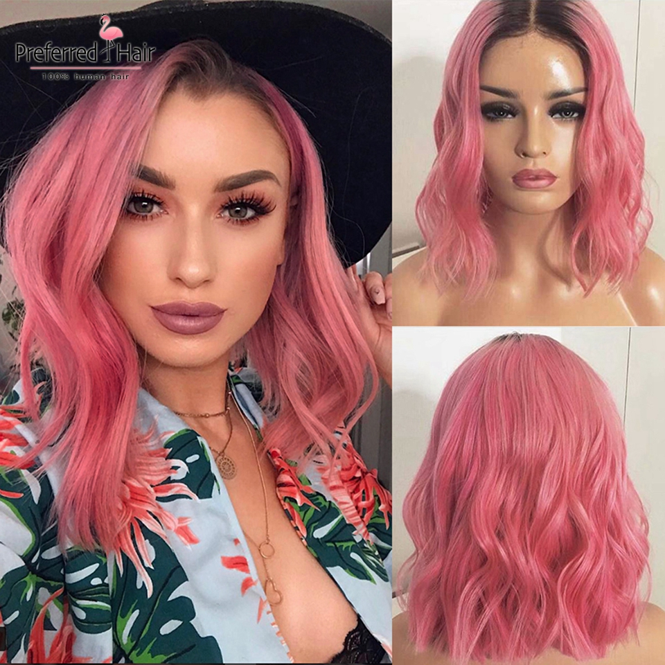 Preferred Remy Brazilian Grey Human Hair Wig Preplucked Ombre Pink 13x6 Lace Front Wig Glueless Short Bob Wigs For Black Women