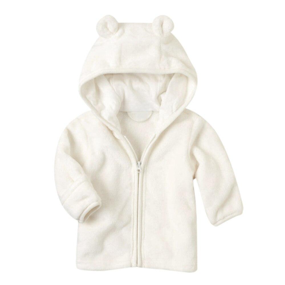 3-24 м зима теплая из плотного флиса кораллового цвета пальто для маленьких мальчиков и девочек с длинным рукавом Симпатичные уха с капюшоном...