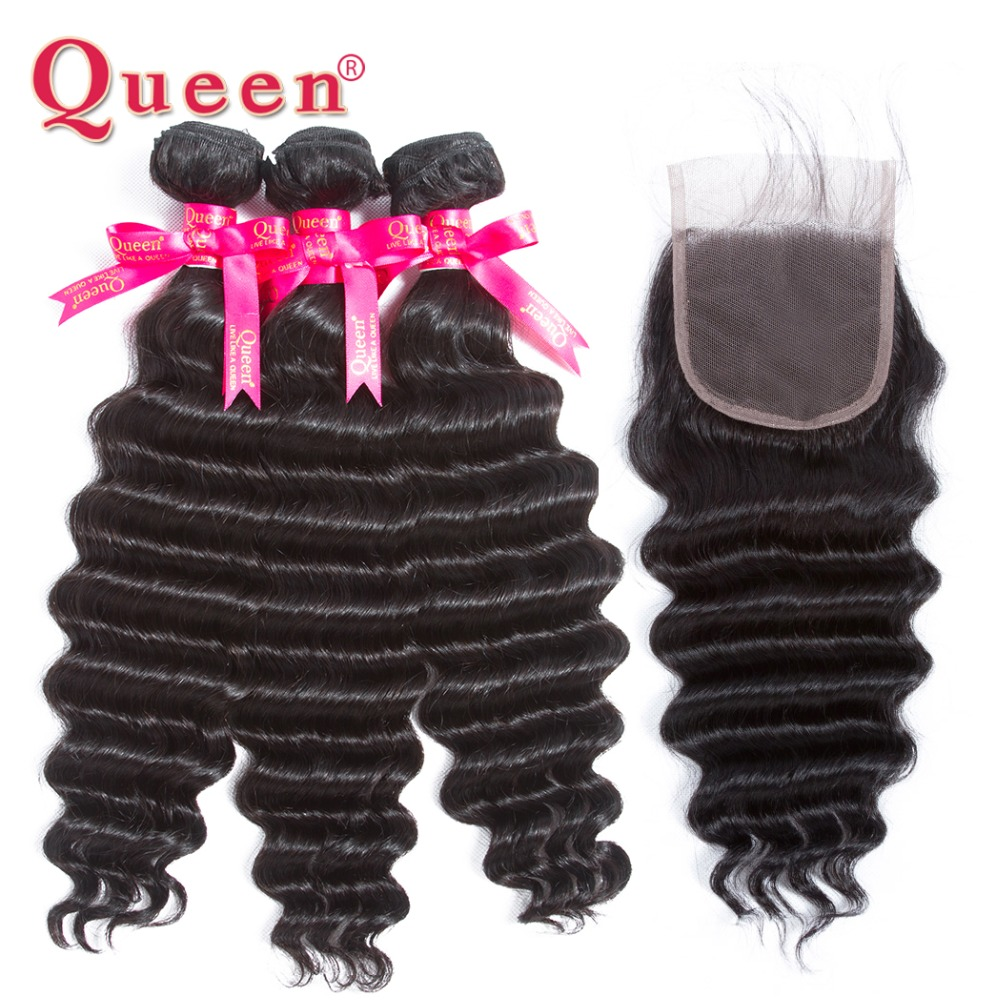 Queen Hair Products Brazilian Human Hair 3 Bundles With Closure Loose Deep More Wave Closure With