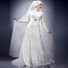Fancy Muslim Ivory Lace Wedding Dresses Long Sleeve bridal gown Custom Made High Neck Dubai Abaya