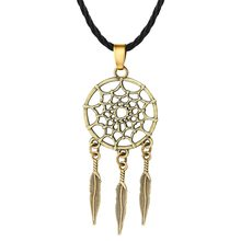 QIMING Antique Dream Catcher Necklace Women Korean Fashion Jewelry Boho Dreamcatcher Pendant Feather Necklace Girls Gift(Hong Kong,China)