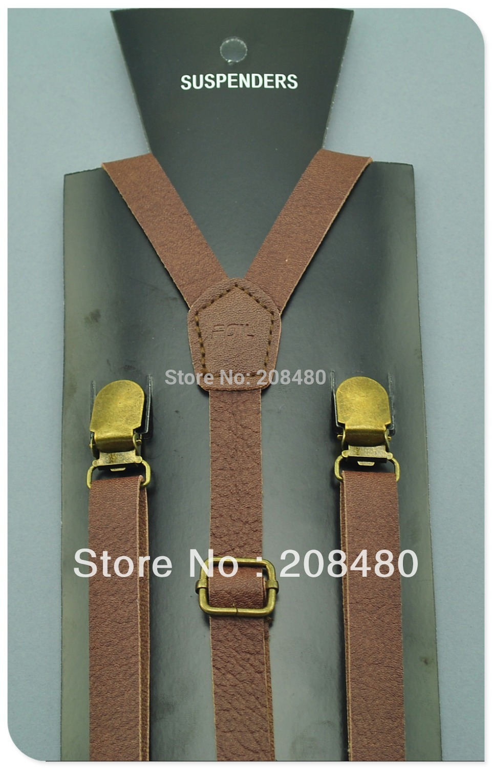 Free Shipping-High Quality Brown Color 1.5cm PU Leather Suspenders Women`s Unisex Clip-on Elastic Braces Slim Suspender Strap