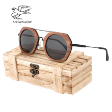 AN SWALLOW  Brand New Sunglasses Men Black Walnut Wood Oversized Sunglasses Women Sun glasses With Wood Box oculos TAC UV400 high quality light round walnut wood sunglasses with metal nose bridge and temples