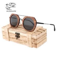 AN SWALLOW  Brand New Sunglasses Men Black Walnut Wood Oversized Women Sun glasses With Box oculos TAC UV400