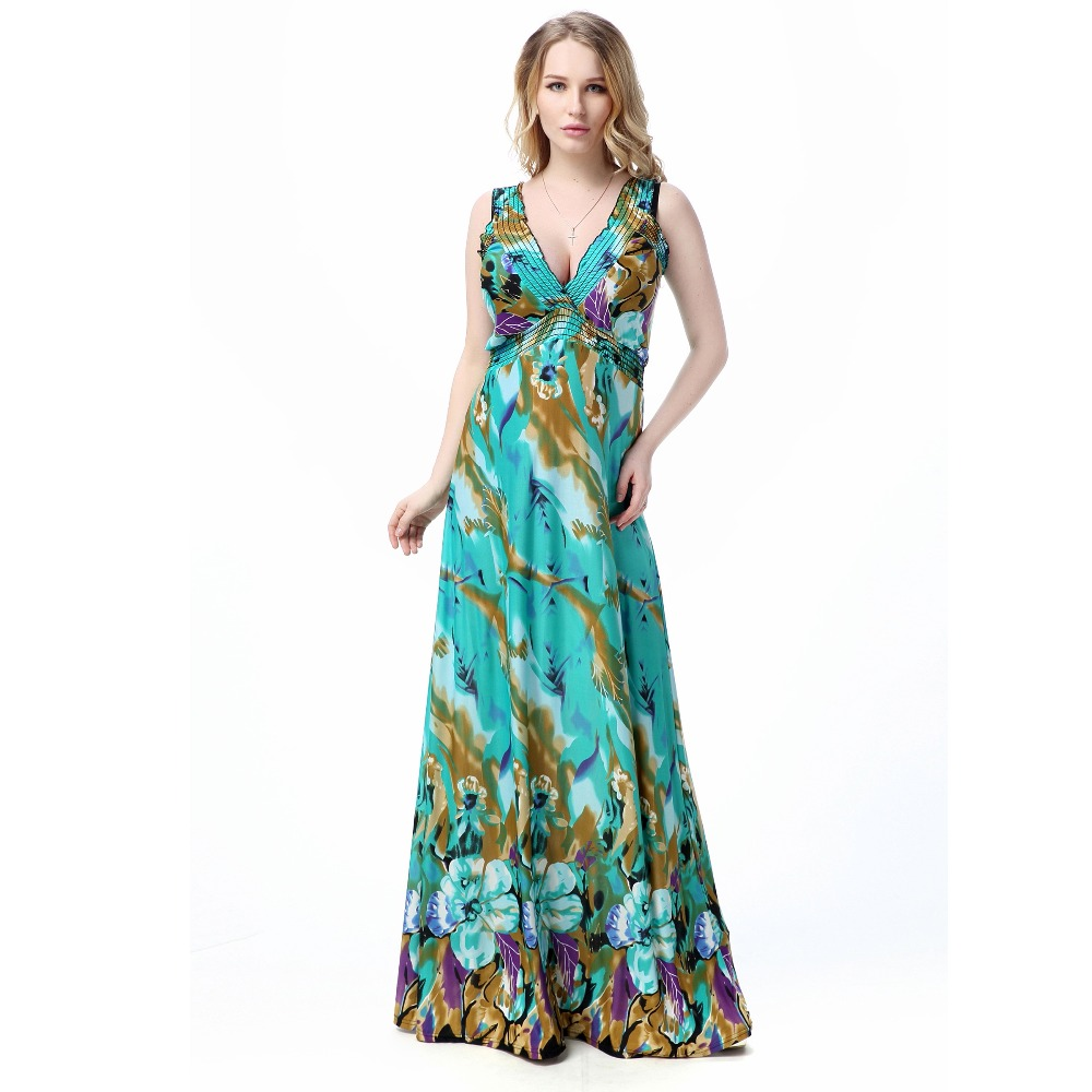 <font><b>Women</b></font> Summer Dress Printed Sexy V Neck Sleeveless Backless <font><b>Plus</b></font> <font><b>Size</b></font> <font><b>7XL</b></font> Vestido de verano image