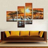Oprawione gotowy do powieszenia Ręcznie malowane drzewo obraz olejny afryki afryka żyrafy zwierząt dziki zachód słońca krajobraz na płótnie wall art picture