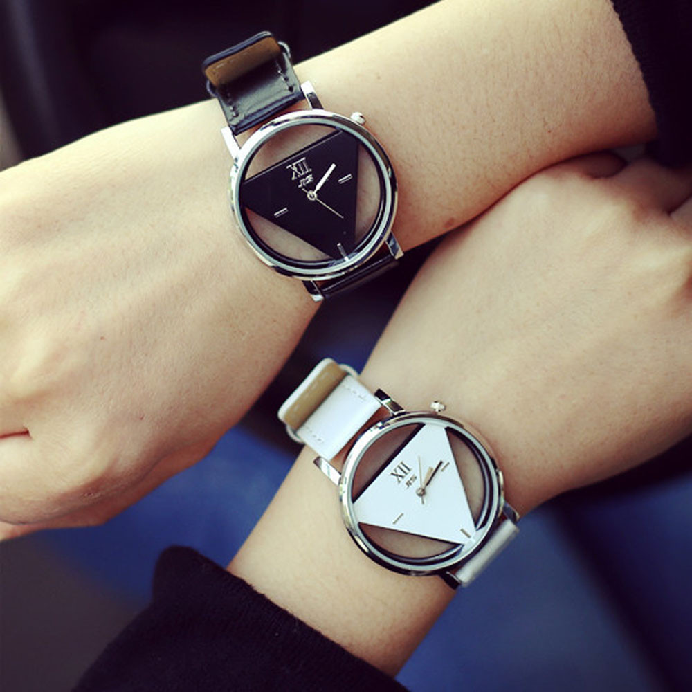 9s Unique Hollowed-out Triangular Dial Fashion Watch Wristwatch Women Bracelet Wrist For Women Watch Strap Alarm Clock Led @9