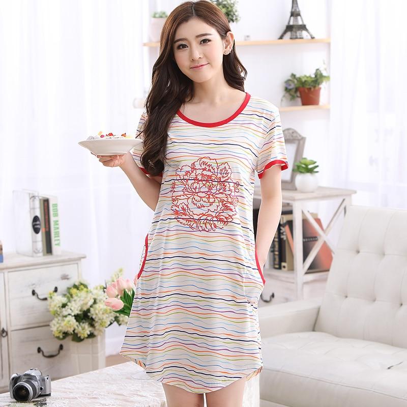 2017 Brand Cotton Women's Nightgowns Sleepshirts Floral Rose Print Nightdress Girl Sleepwear Femme Dresses Lounge Dress Clothing