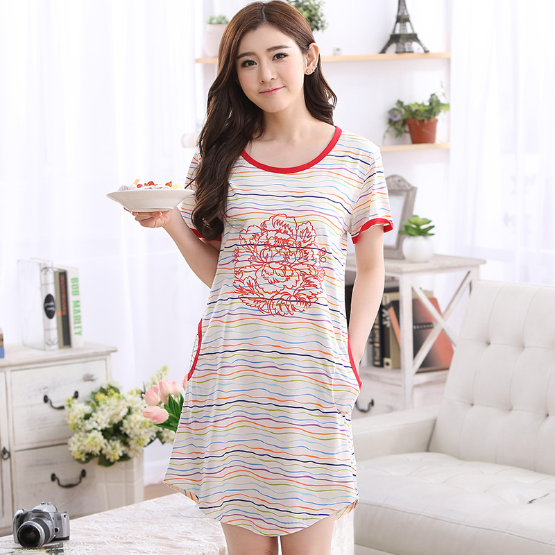 2017 Brand Cotton Women's   Nightgowns     Sleepshirts   Floral Rose Print Nightdress Girl Sleepwear Femme Dresses Lounge Dress Clothing