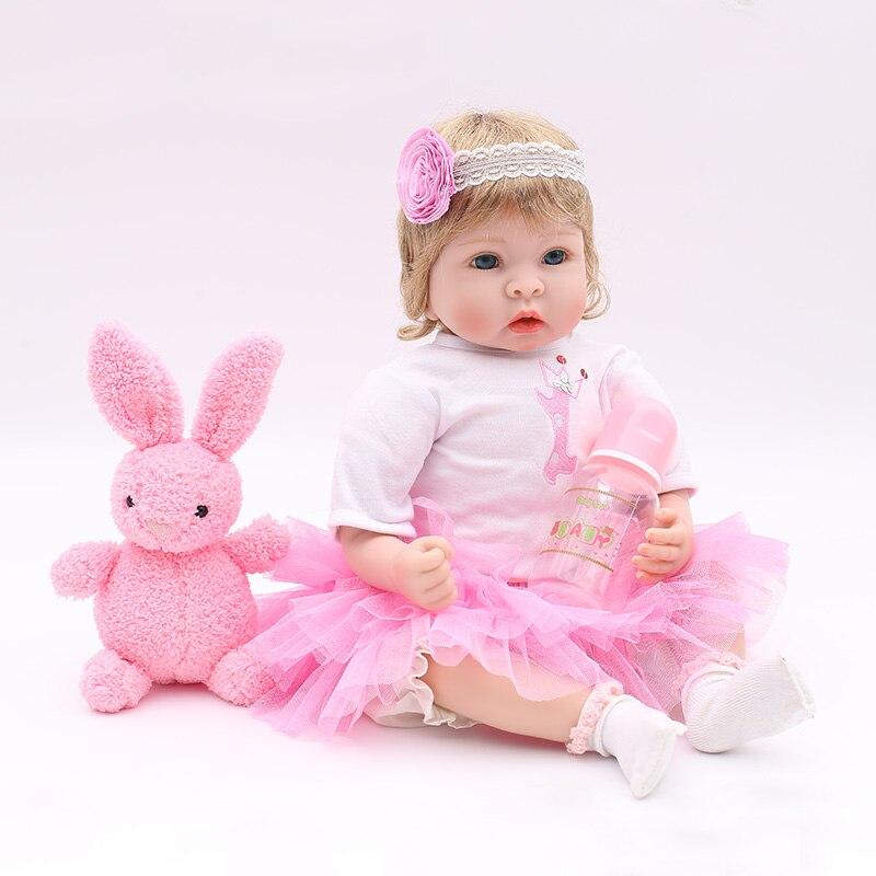 22 reborn Baby Dolls girls Soft silicone reborn dolls with pink rabbit plush real born dolls