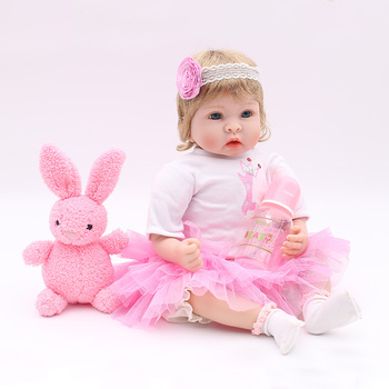 "22"" reborn Baby Dolls girls Soft silicone reborn dolls with pink rabbit plush  real born dolls realista bebes reborn meninia"