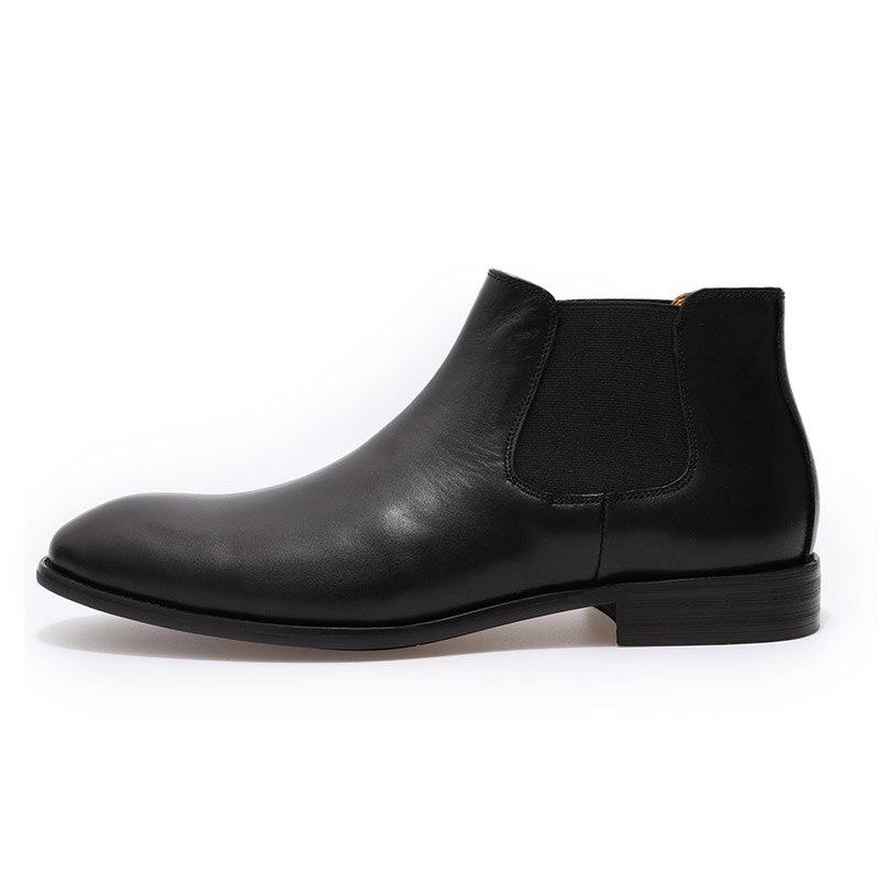 2019 bottes Chelsea en cuir véritable chic hommes de mode sans lacet bout simple noir bottine hommes haut robe top chaussures taille 39 46 - 5