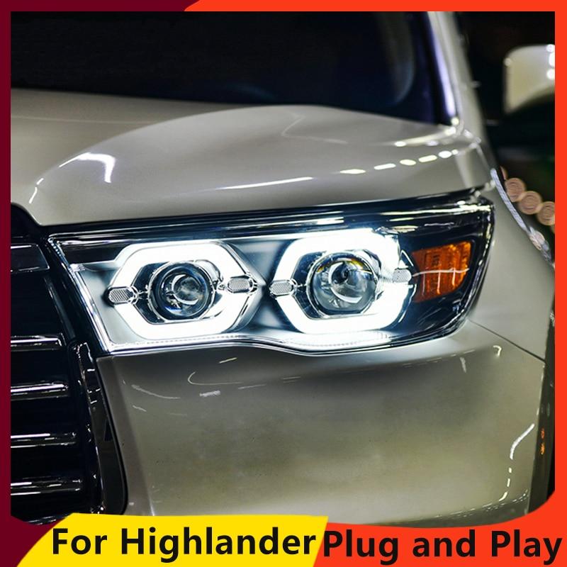 KOWELL Car Styling for Toyota Highlander Headlights 2015 2016 2017 New Kluger LED Headlight drl Lens