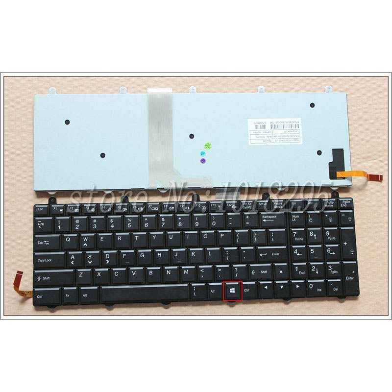 New Laptop Keyboard For Clevo  P150EM P170EM P370EM P570WM US With Backlit WIN8 KEY Bottom Right laptop keyboard for clevo m550 black without frame with trackpoint u s english international ui mp 030834u 4309l