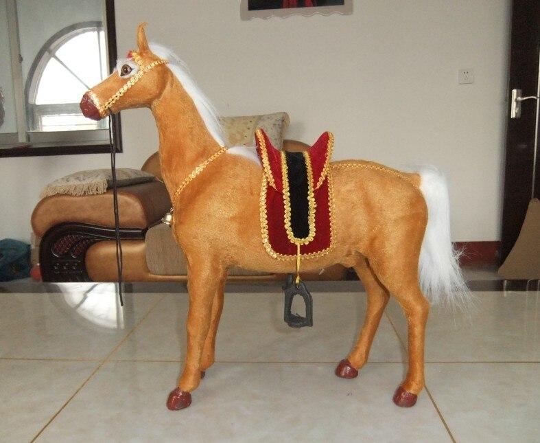 Grand simulaiton cheval jouet polyéthylène & fourrure nouveau jaune-brun cheval poupée cadeau environ 45x46 cm 1976