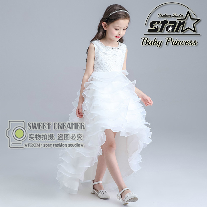 ФОТО Summer Girls Dresses Fashion Beaded Tulle Applique Embroidery Sleeveless Beauty Contest Wedding Birthday Christmas Ball Gown