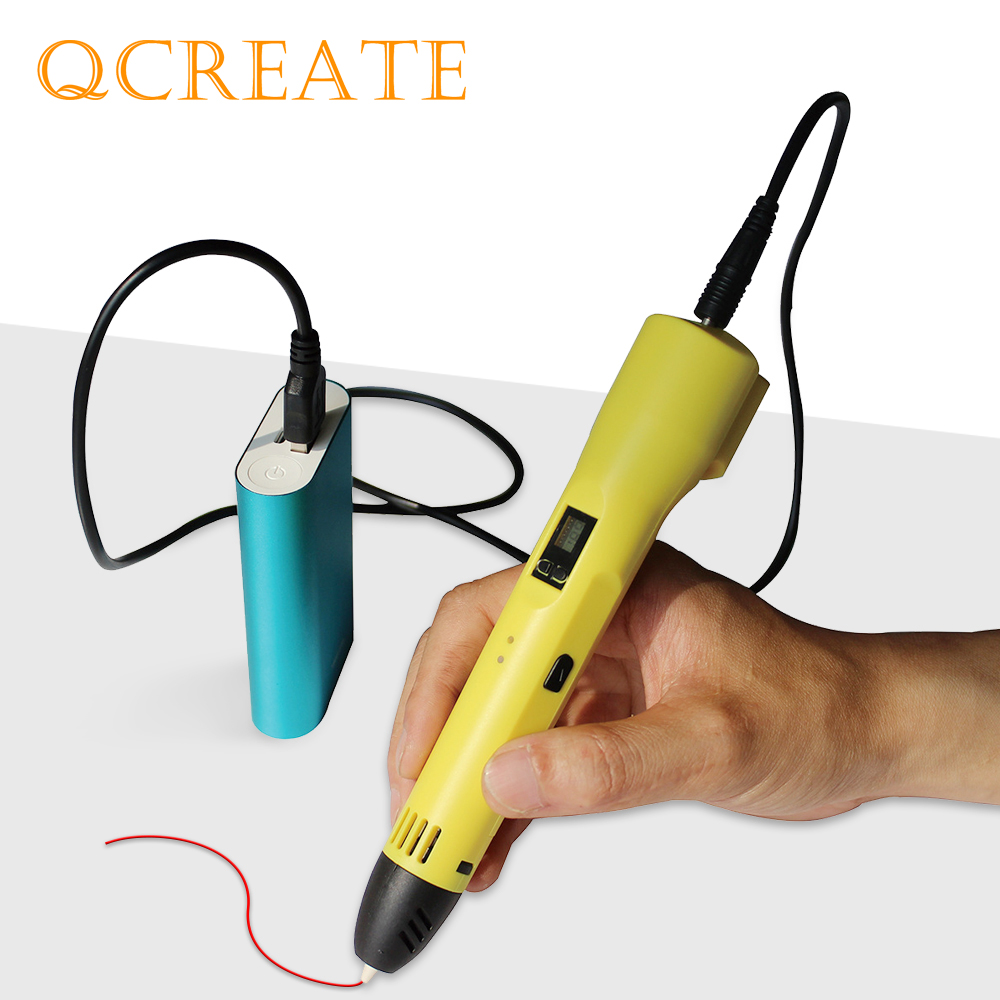 QCREATE QW-012A 3D Printing Pen LCD Screen Adjustable Heating Temperature 8-Speeds Setting Compatible ABS PLA Filament