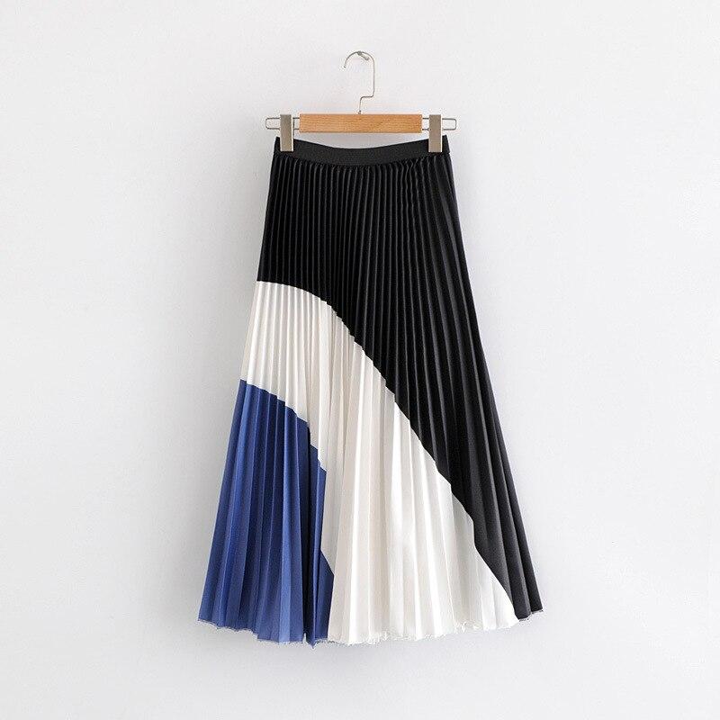 2019 Spring Woman High Waist Pleated Skirts Patchwork Color Block Long Midi Skirt Elegant Office Lady Skirts Woman Streetwear