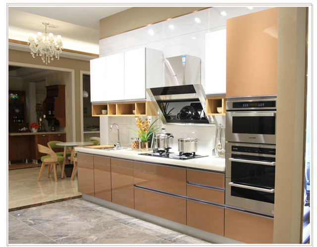 Us 3000 0 Brown And White Gloss Kitchen Simple Design Kitchen In Kitchen Cabinets From Home Improvement On Aliexpress