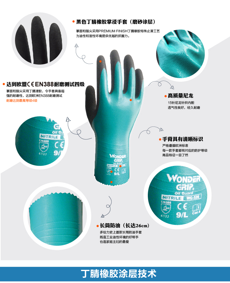 Chemical Resistant safety glove nitrile fully dipped water proof labor glove oil resistant comfortable antibiotic work glove