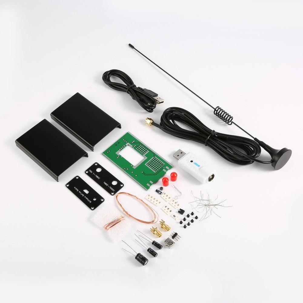 DIY Kits 100KHz to 1.7GHz Full-Band FM DSB UV HF RTL-SD USB Tuner Receiver R820T +RTL2832U + U/V Antenna Software Radio Colorful 100khz 1 7ghz full band rtl sdr software receiver aerial band shortwave band rtl2832u r820t2 tuner tv receivers