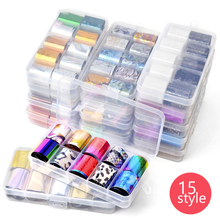 цена на 10pcs/set Colorful Laser Nail Foils Stickers 15 Styles Non-sticky Foil Design Nail Art Sticker Hot Nails Art Decorations LSK