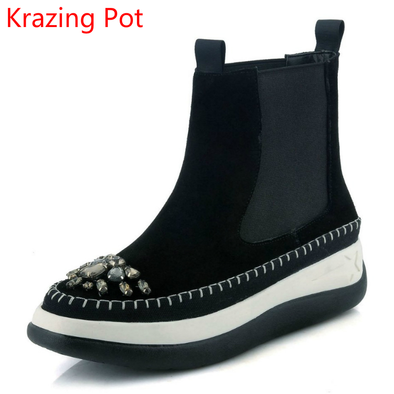 2018 Handmade Genuine Leather Flat with Crystal Round Toe Keep Warm Winter Boots Slip on Platform Elegant Brand Ankle Boots L0f8 farvarwo formal retro buckle chelsea boots mens genuine leather flat round toe ankle slip on boot black kanye west winter shoes