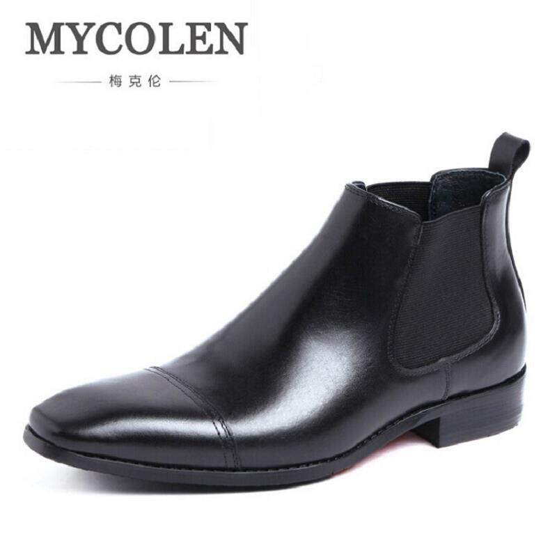 MYCOLEN Black/Brown Winter Mens Ankle Boots Genuine Leather Comfort Dress Shoes Boots Mens Comfort Chelsea Boots Botines Hombre northmarch luxury brand men shoes for winter basic ankle boots genuine leather men s chelsea boots black botas moto hombre