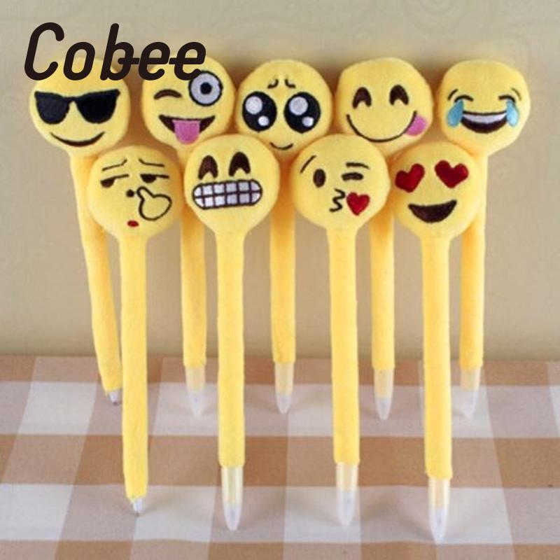 Cobee 5pcs Cute Cartoon Ball Point Pen Ballpoint Ballpen emoji Stationery Kids Children Student School Office School Supplies