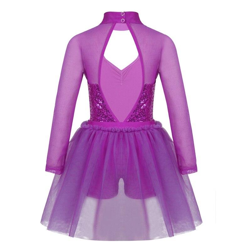 Image 5 - Kids Teens Sequins Stage Performance Lyrical Dance Costumes Children Girls Figure Skating Ballet Tutu Leotard Mesh DressBallet   -