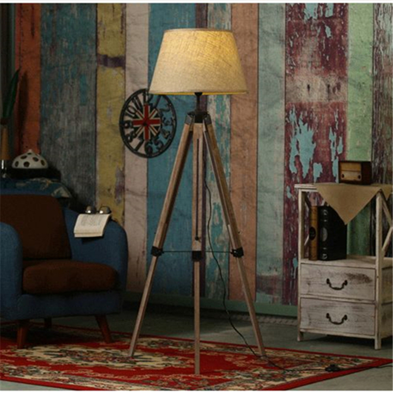 Rustic Wooden Tripod Floor Lamp Fabric Lampshades Classical Chinese Light Living Room Stand Lamps Modern Contemporary