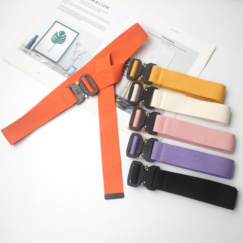 Men Women Unisex Plain Webbing Cotton Canvas Metal Buckle Belt High Quality Belts Male Luxury Casual Straps Ceintures YS124