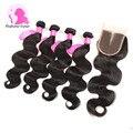8A Fashow Hair Malaysian Virgin Hair With Closure 100% Human Hair With Closure Malaysian Body Wave Weave 4 Bundles With Closure