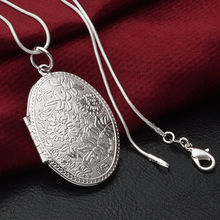 2015 Hot Fashion Silver Plated Carving Locket Pendant Chain Choker Necklace Jewelry Gift With Photo