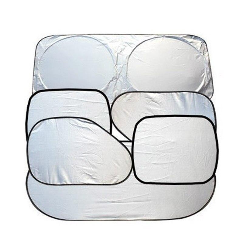 6Pcs Folding Silvering Reflective Car Windshield Window Sun Shade Visor Shield Cover Suction Cup Car Sunshield Sunscreen Curtain