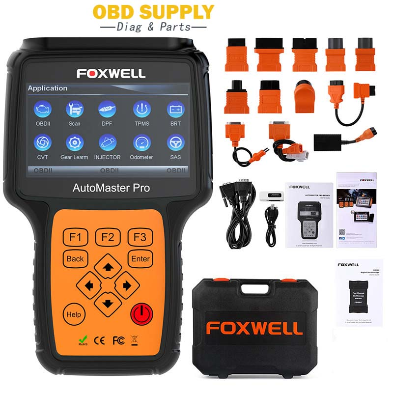 Foxwell ABS Airbag TPMS EPB DPF Full System Automotive Diagnostic Tool NT644 Pro OBD OBD2 Car Auto Scanner with Connector Cables