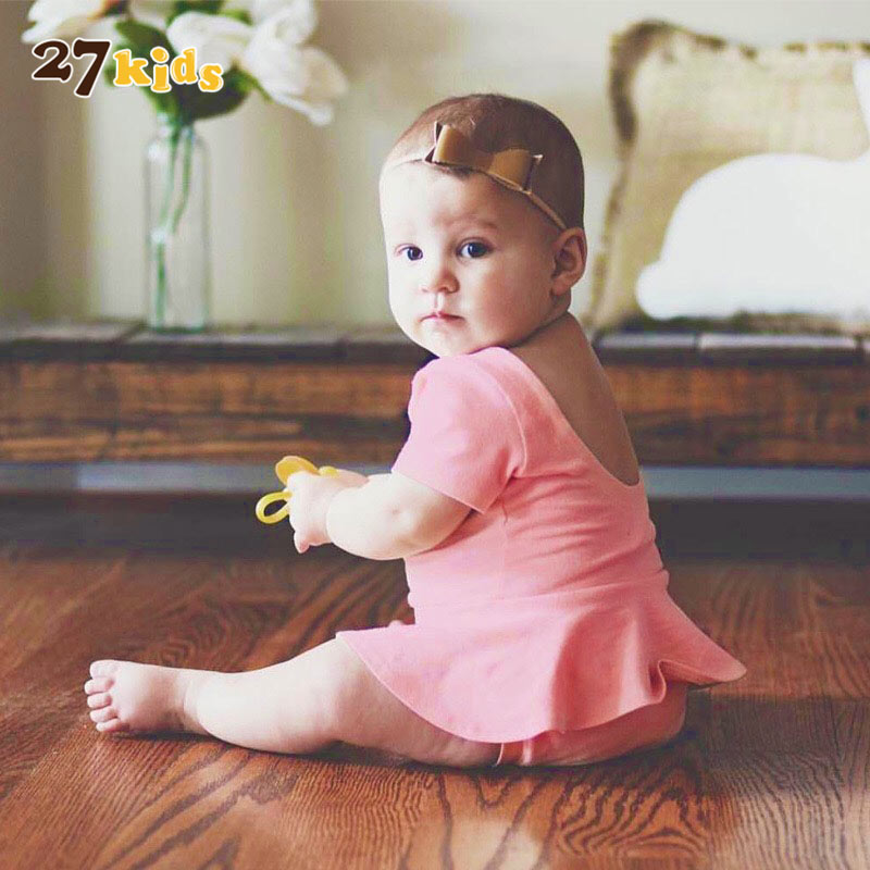 27Kids Toddler Baby Rompers Ropa Bebes Clothes,Solid Baby Girl Romper Summer Short Sleeve jumpsuit,One Piece Children Clothes