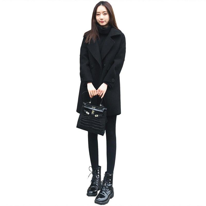 Vestes H72 Survêtement Lâche Manteau De Coréen 2018 Noir Laine Chaud long Moyen Casual Hiver Mélanges Automne Nouvelles Femmes Femme Style vTUqP