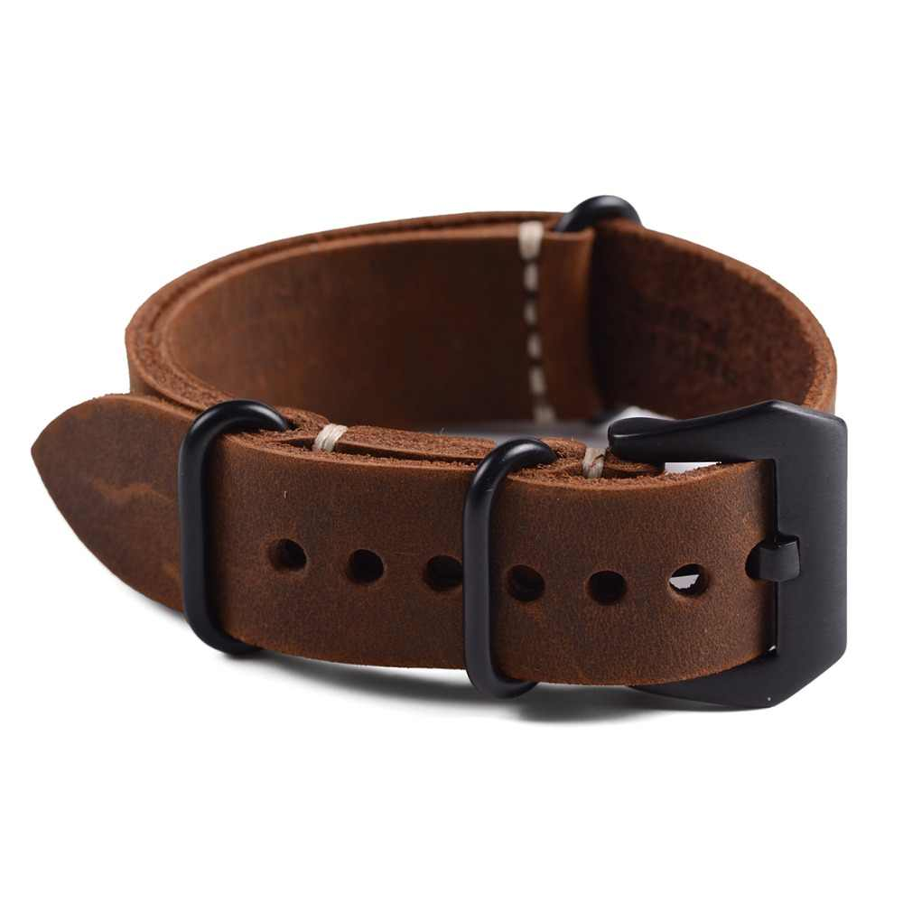 7f3bde493 ... 1pc Handmade High Quality Genuine Leather Nato&Zulu Watch Strap&Band  20mm 22mm 24mm With Black Buckles ...