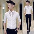 Mens Florales Camisas de Vestir 2016 Nuevos Hombres Opacidad SHirt Camisa Slim Fit Camisa Chemise Homme de Baile Flor Patchwork Blanco negro