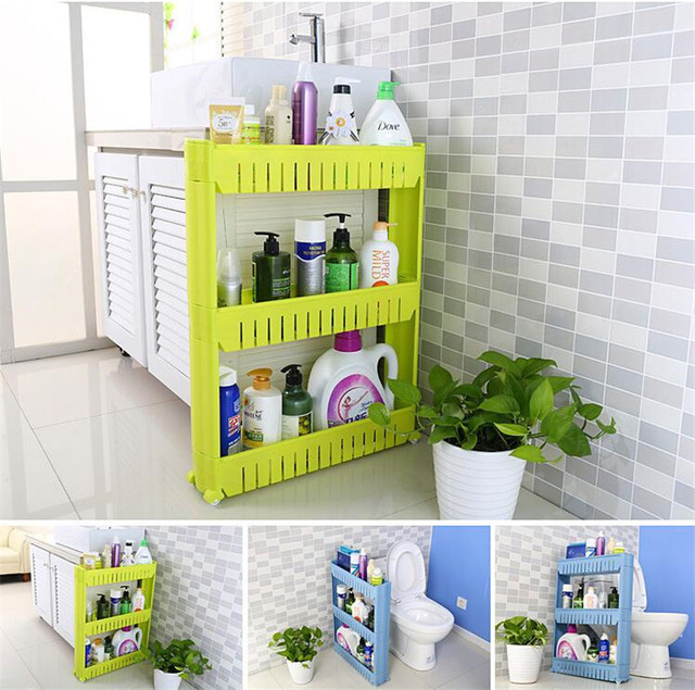 Removal 3 Layers Bathroom Storage Shelf Holder Narrow Space Saver Plastic Rack Organizer With