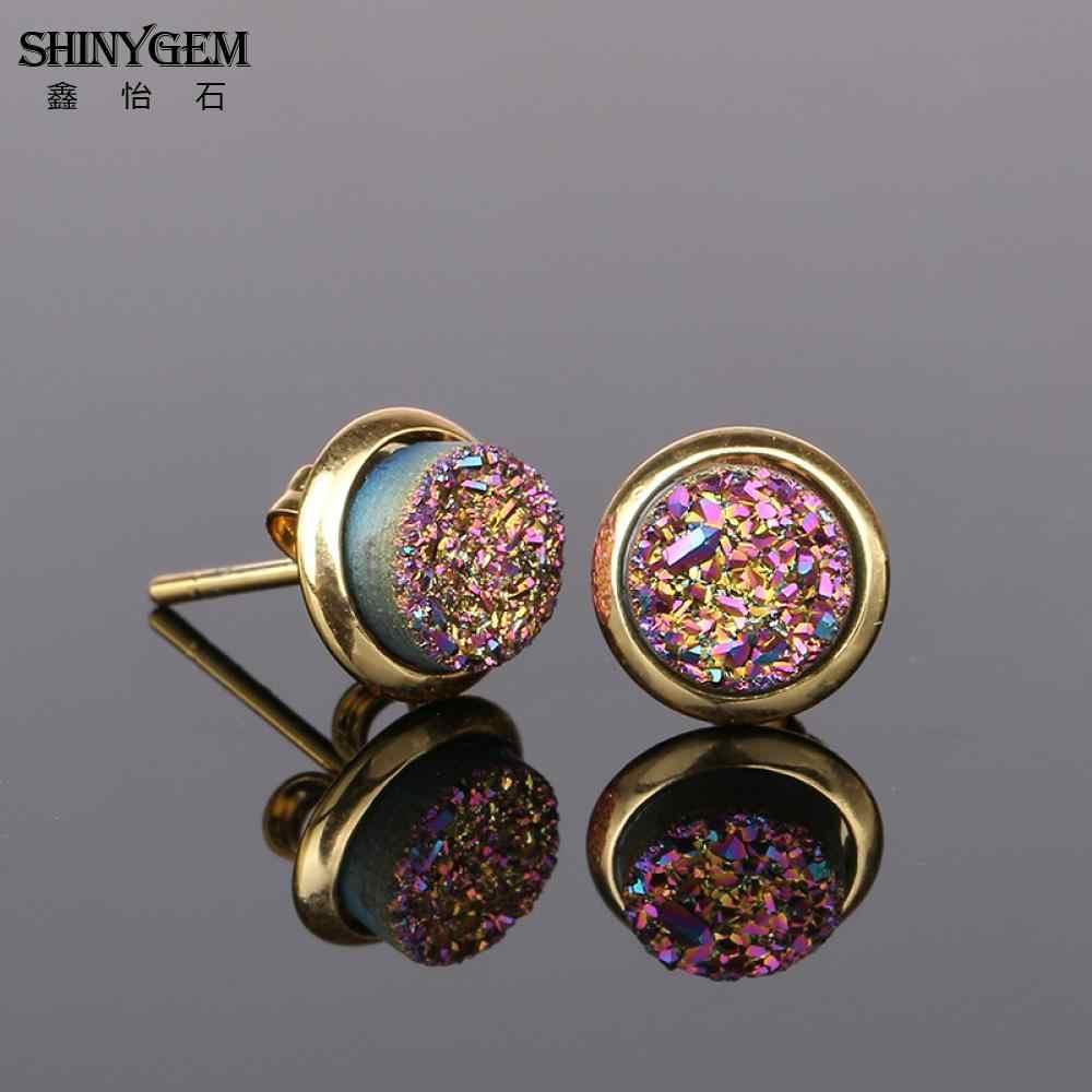 ShinyGem 6 มม./8 มม./10 มม./12 มม. รอบ Druzy ต่างหูทองชุบหินธรรมชาติ Stud ต่างหูน่ารักแร่คริสตัลต่างหูผู้หญิง