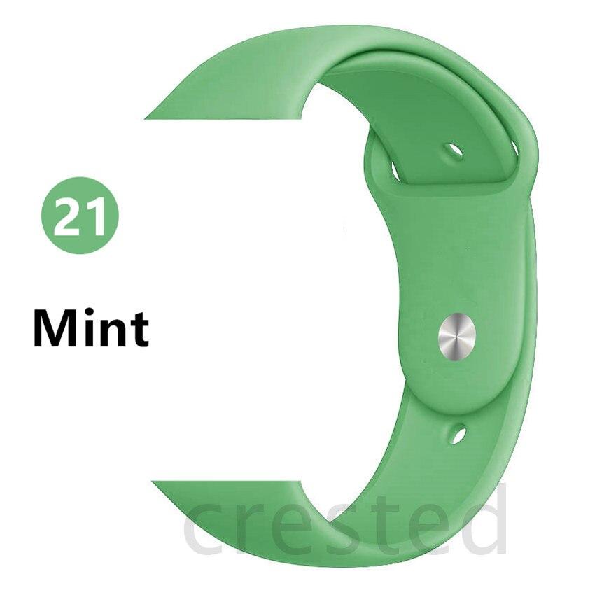 Силиконовый ремешок для apple watch 4 5 44 мм/40 мм спортивный ремешки для apple watch 3 42 мм/38 мм резиновый ремень браслет ремешок для часов apple watch Band Мягкий красочный ремешок iwatch series 4 3 2 1 - Цвет ремешка: Mint