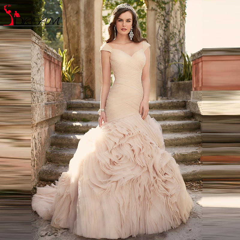 Popular pink champagne buy cheap pink champagne lots from for Blush vintage wedding dress