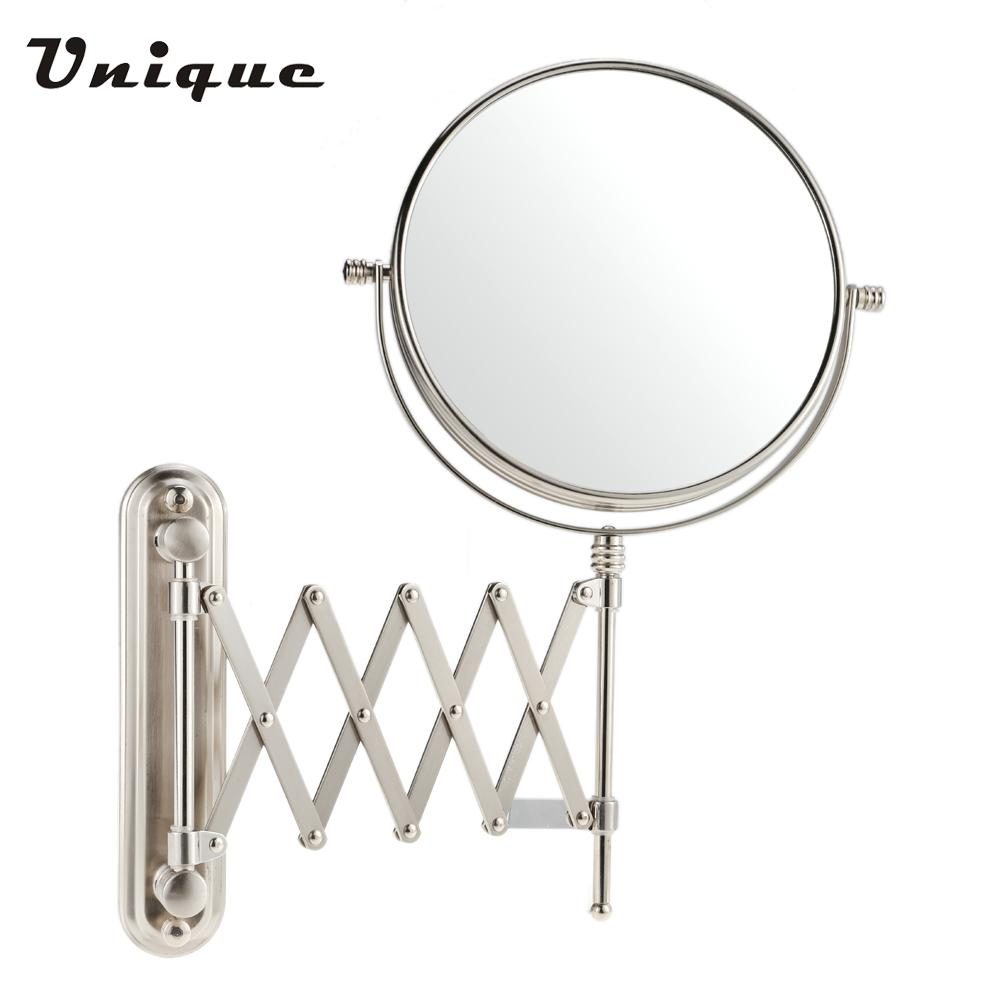 Folding bathroom mirror - Round 8 Inch 7x Magnification Wall Mounted Bathroom Stretchable Rotatable Folding Dual Side Hanging Mirror Shaving