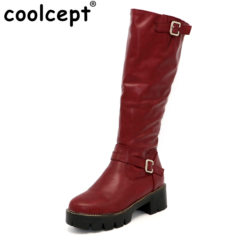 Coolcept Woman Round Toe Knee Boots Women Buckle Style Square Heel Bootines Female Zipper Knight Boot